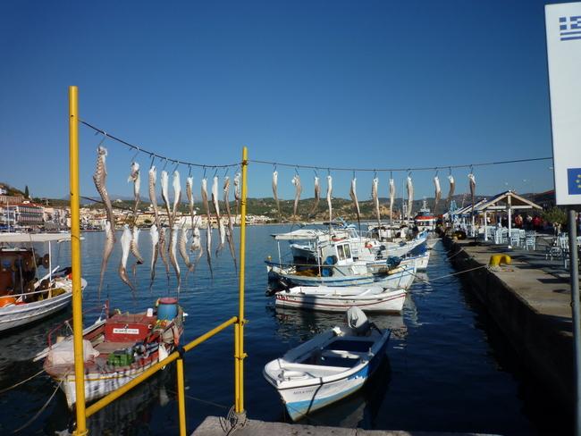 Fische und Fischerboote auf dem Peleppones
