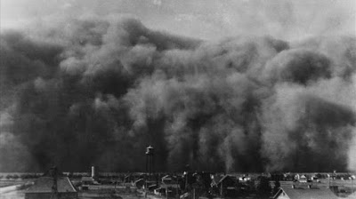 8 black sunday dust storm over town