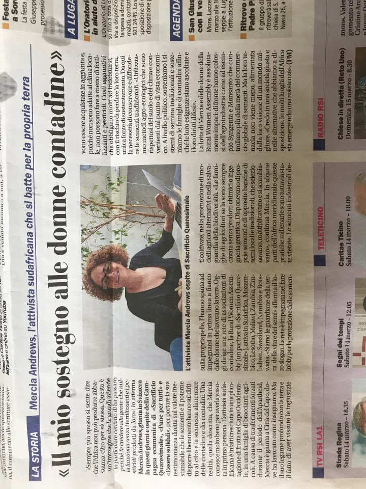 Articolo letto in marzo 2020 sul Corriere del Ticino sulle grandi imprese, come Monsanto, e i loro affari in Africa!!