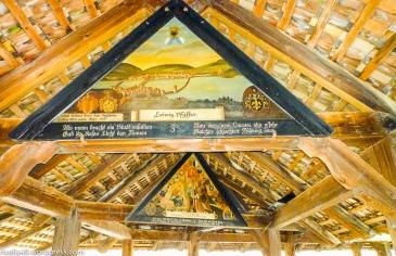 Brückenbilder wurden leider einige duch den Brand am 18.8.1993 unwiderruflich zerstört. Some of the bridge paintings were destroyed in 1993 in the big fire. Alcun immagini sono, purtroppo, stati distrutti in occasione del grande fuoco nel 1993.