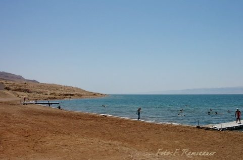 Beach on the Dead Sea/Strand am Toten Meer/Spiaggia al Mar Morto